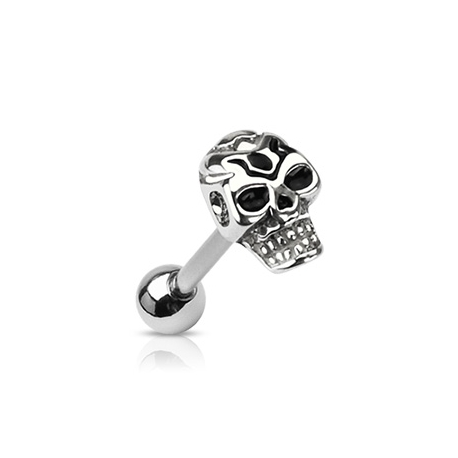 Casted Death Skull Top Tongue Barbell Piercing