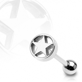 Star in Cylinder Barbell Piercing
