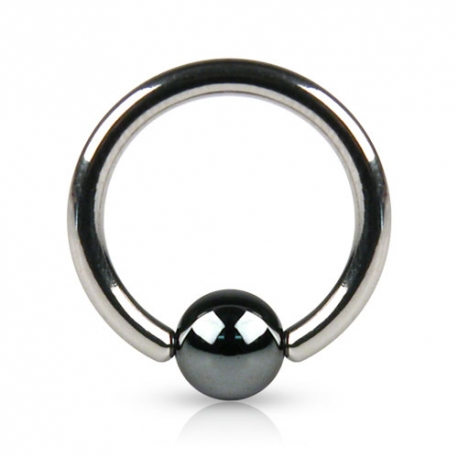 Ring w/ Hematite Plated Bead Piercing