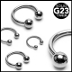 Grade 23 Solid Titanium Horseshoe with Balls Septum Piercing