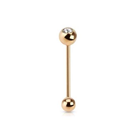 CZ Placcato in Oro Barbell / Lingua Piercing