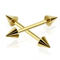 Spike End Barbell Gold IP Piercing