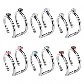 Ring with Double CZ Fake Non-Piercing Cartilage 'Clip-On'