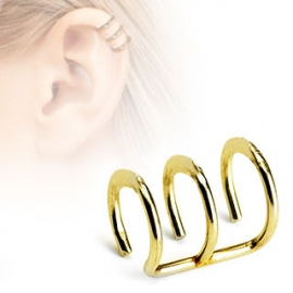 Triple Closure Ring Gold IP Non-Piercing Cartilage 'Clip-On'