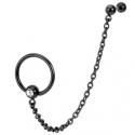 Black IP Single Gemmed Captive Bead Ring