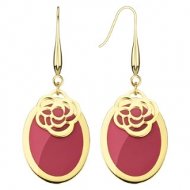 Gold IP Oval Earring with Laser Cut Rose