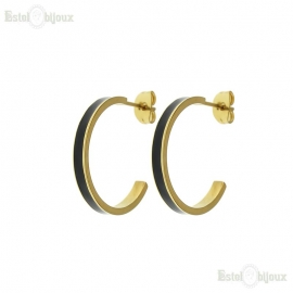 Gold IP Duo Tone Epoxy Hoop Earing
