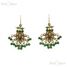 Green Jade and Pearls Earrings