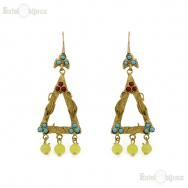 Triangles and Yellow Jade Earrings
