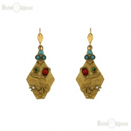 Rhombus Gold Plated Earrings