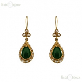 Drop Green Jade Earrings