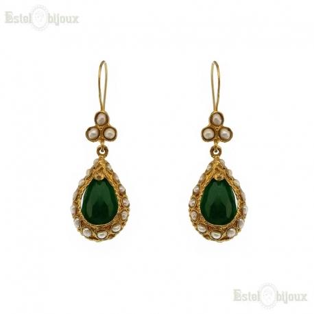 Drop Green Jade Earrings