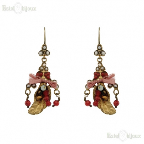 Pearls and Stones Flower Calla Lily Earrings