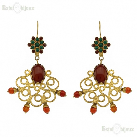 Carnelian and Malachite Earrings