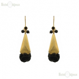 Onyx and Silk Earrings
