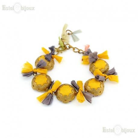 Silk Multicolor Brass Yellow Bracelet