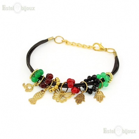 Leather Pendants Bracelet