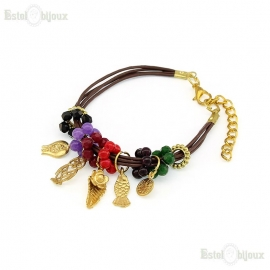Leather Stones Pendants Bracelet