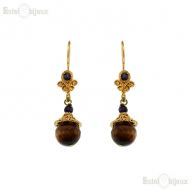 Tiger Eye Filigree Drop Earrings