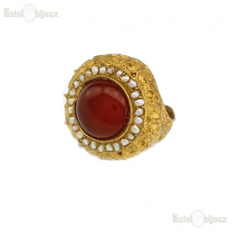 Carnelian and Pearls Ring