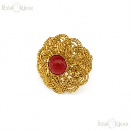 Red Jade Filigree Ring