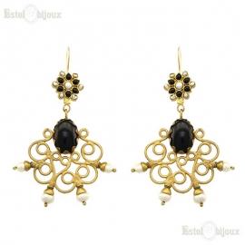 Orecchini in Onice Nero e Perle di Fiume