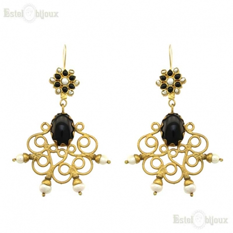 Onyx and River Pearls Filigree Brass Earrings