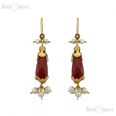 Red Jade and River Pearls Brass Earrings