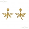 Dragonfly Filigree Brass Earrings