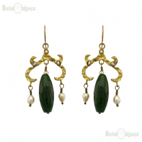 Green Jade and River Pearls Brass Earrings