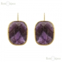 Amethyst Brass Earrings