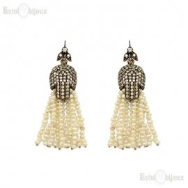 River Pearls and Rhinestones Bronze Earrings