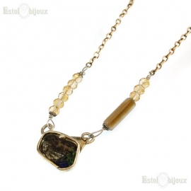 Glass Agate and Crystals Necklace