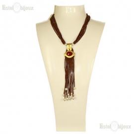 Collana in Ceramica Giada Rossa e Perle