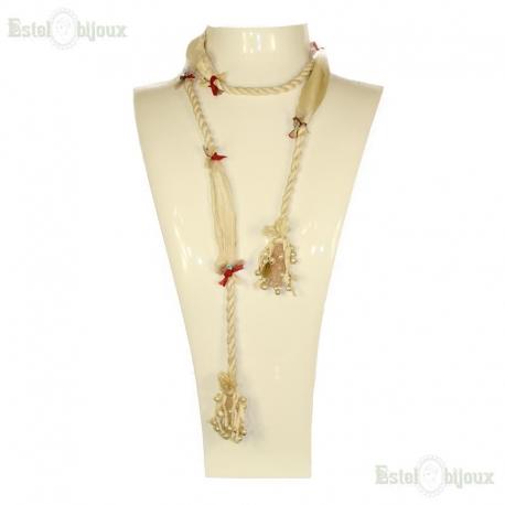 Collana in Seta, Quarzo Rosa e Perle di Fiume