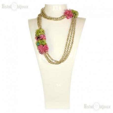 Collana Perle di Fiume, Seta e Pietre