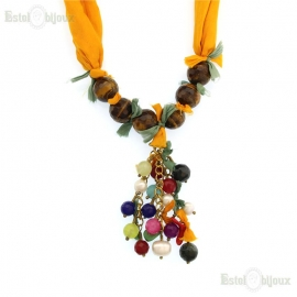 Tiger Eye and Silk Necklace