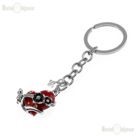Red Heart and Flowers Strass Pendant Keychain