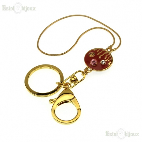 Smiley Face Strass Pendant Keychain