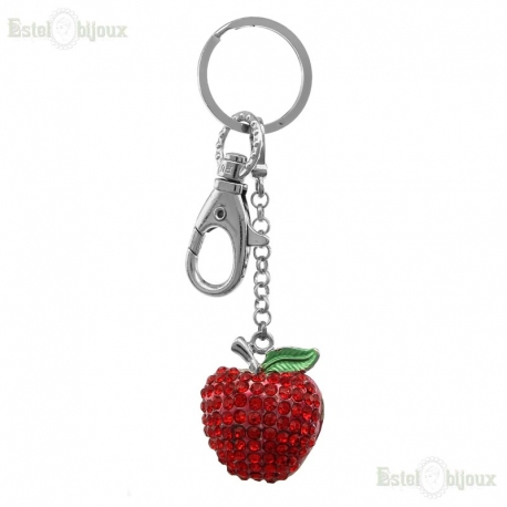 Red Apple Strass Pendant Keychain