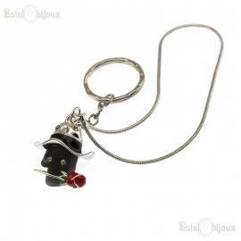 Black Skull and Rose Pendant Keychain