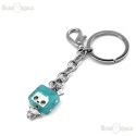 Square Man and Crystals Pendant Keychain