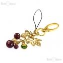 Perle Foglie e Cristalli Ciondolo Portachiavi