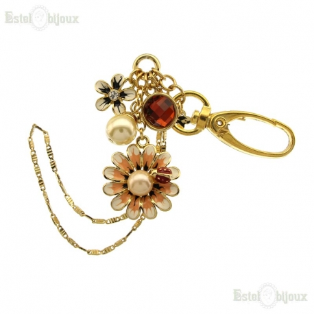 Chamomile Flower Strass and Pearl Pendant Key Chain