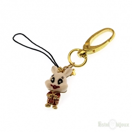 Hare Enamel Gold Plated 18k Pendant Key Chain
