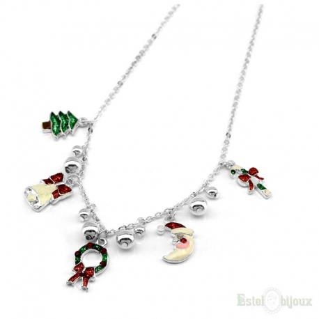 Different Christmas Enamel Pendants Necklace