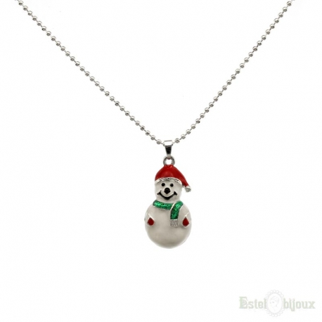 Snowmen Christmas Enamel Necklace