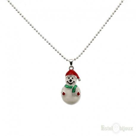 Snowmen Christmas Enamel Necklace