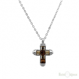 Smoked Topaz Crystals Cross Necklace
