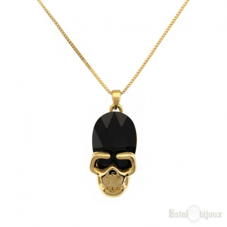 Black Skull Gold Plated 18k Necklace